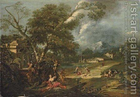 An Italianate river landscape with Juno resting under a tree with putti, a fountain nearby by Antonio Diziani - Reproduction Oil Painting