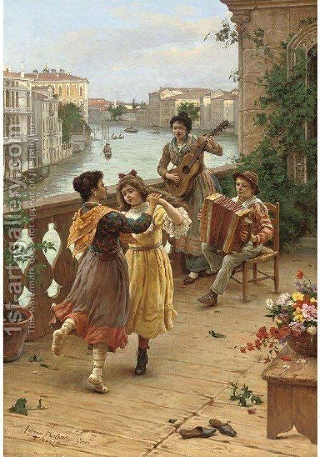 On a Venetian balcony by Antonio Paoletti - Reproduction Oil Painting