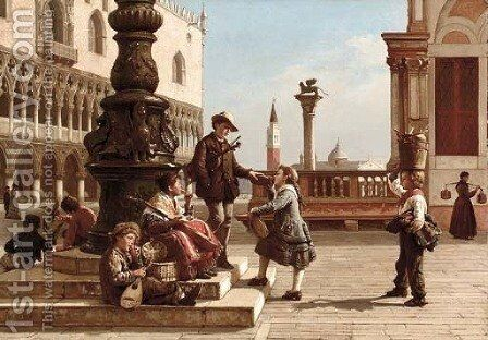 Young Musicians in Piazza San Marco, Venice by Antonio Paoletti - Reproduction Oil Painting