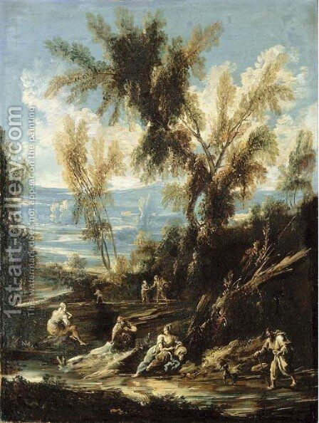 A wooded river landscape with washerwomen and other figures by Antonio Francesco Peruzzini - Reproduction Oil Painting