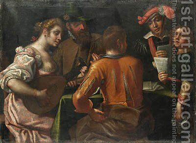 Elegant Company making Music around a Table by Antonio Gandino - Reproduction Oil Painting