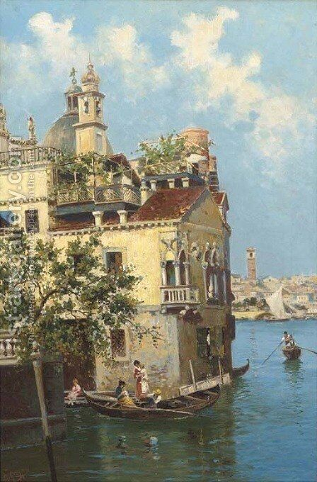 A Venetian house on the canal by Antonio Greppi - Reproduction Oil Painting