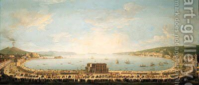A panoramic view of the Bay of Naples, with the royal procession to Piedigrotta by Antonio Joli - Reproduction Oil Painting