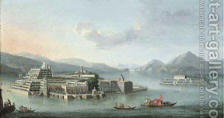 Lake Maggiore with the Isola Bella, and the Isola dei Pescatori beyond by Antonio Joli - Reproduction Oil Painting