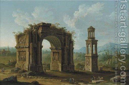 San Remy, Southern France, with ruins of a monumental arch and an early first-century tomb of the Julii at Glanum by Antonio Joli - Reproduction Oil Painting