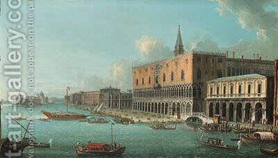 The Bacino di San Marco, Venice, looking west with the Doge's Palace, the entrance to the Grand Canal and Santa Maria della Salute beyond by Antonio Joli - Reproduction Oil Painting