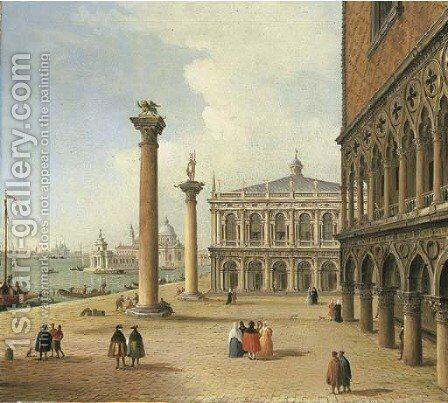 The Piazzetta and the Libreria di San Marco, Venice, Santa Maria della Salute beyond by Antonio Joli - Reproduction Oil Painting