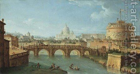 The Tiber, Rome, looking downstream with the Castel and Ponte Sant'Angelo, Saint Peter's and the Vatican, Santo Spirito in Sassia by Antonio Joli - Reproduction Oil Painting