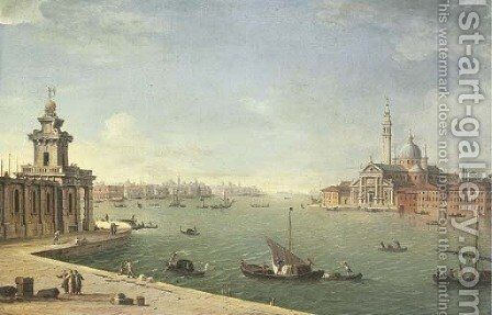 Venice the Bacino di San Marco looking east with the Punta della Dogana and San Giorgio Maggiore from the Zattere by Antonio Joli - Reproduction Oil Painting
