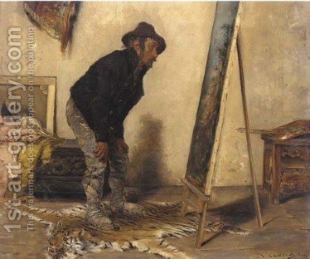 The artist's studio by Antonio Lonza - Reproduction Oil Painting