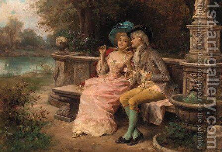 The flirting couple by Antonio Lonza - Reproduction Oil Painting
