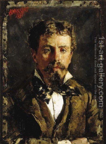 Portrait of a young gentleman, wearing a white shirt, cravatte and brown waistcoat and jacket by Antonio Mancini - Reproduction Oil Painting