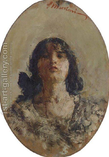 Portrait of a Young Woman by Antonio Mancini - Reproduction Oil Painting