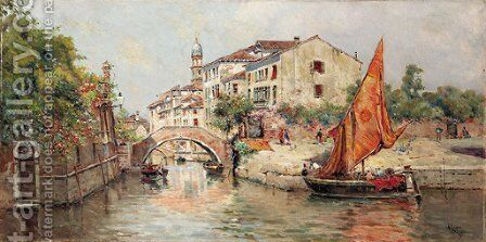 A Venetian Canal by Antonio Maria de Reyna - Reproduction Oil Painting