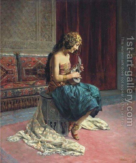 The young musician by Antonio Maria Fabres Y Costa - Reproduction Oil Painting