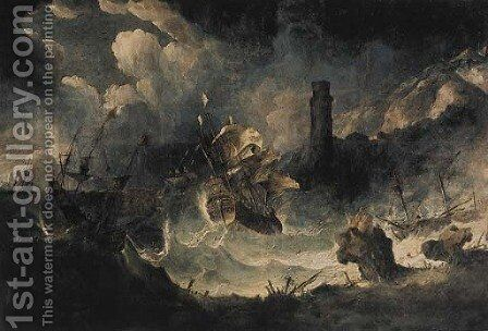 A coastal landscape with ships in a storm by Antonio Marini - Reproduction Oil Painting