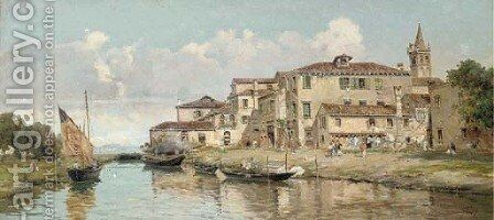 Bragozzi Chioggiotti in the Venetian Lagoon by Antonio Reyna Manescau - Reproduction Oil Painting