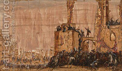 Soldiers storming a town by Antonio Tempesta - Reproduction Oil Painting