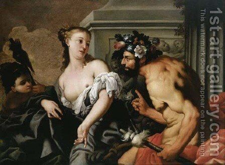 Hercules and Omphale by Antonio Zanchi - Reproduction Oil Painting