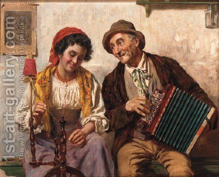Spinning to the tune of the accordian by Antonio Zoppi - Reproduction Oil Painting