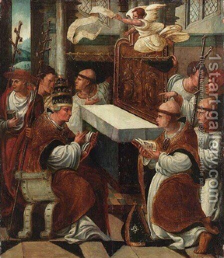 The Mass of Saint Gregory by Antwerp School - Reproduction Oil Painting
