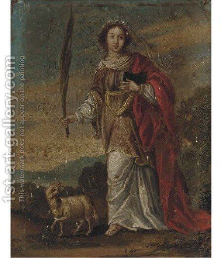 Saint Agnes by Antwerp School - Reproduction Oil Painting