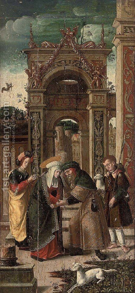 Joachim and Anne meeting at the Golden Gate by Antwerp School - Reproduction Oil Painting