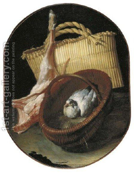 A still life with two baskets and a pigeon by Arcangelo Resani - Reproduction Oil Painting