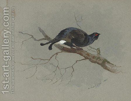 Black grouse in a tree by Archibald Thorburn - Reproduction Oil Painting