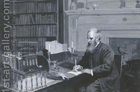 Lord Lilford in his study by Archibald Thorburn - Reproduction Oil Painting