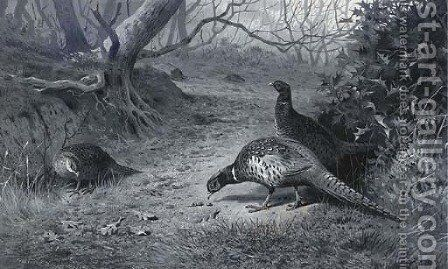 Pheasant on a woodland path, late Autumn by Archibald Thorburn - Reproduction Oil Painting