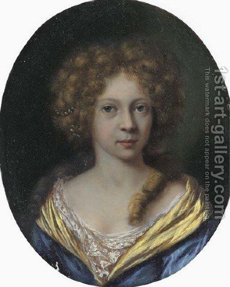 Portrait of a lady, small bust-length, in a blue dress with a yellow border by Arie de Vois - Reproduction Oil Painting