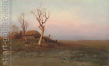 Early evening by Arkhip Ivanovich Kuindzhi - Reproduction Oil Painting