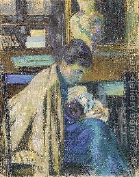 Madame Guillaumin avec Madeleine by Armand Guillaumin - Reproduction Oil Painting