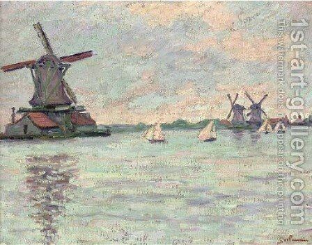 Moulins en Hollande by Armand Guillaumin - Reproduction Oil Painting