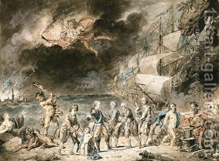 The French fleet coming to the rescue of America by Armand-Julien Pallire - Reproduction Oil Painting
