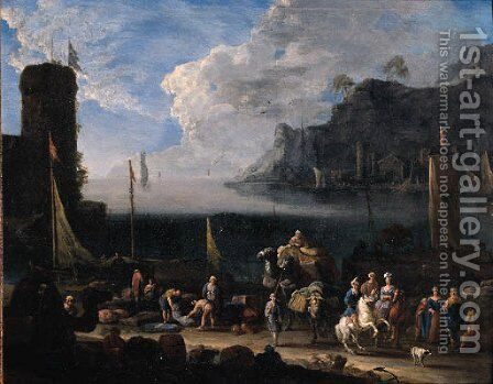 A mediterranean harbour with merchants unloading cargo and elegant travellers on a quay, at sunset by Arnold Frans Rubens - Reproduction Oil Painting