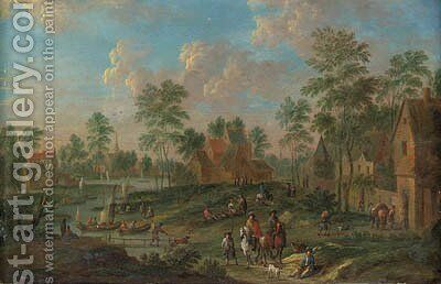 River Landscapes with Travellers in Villages by Arnold Frans Rubens - Reproduction Oil Painting