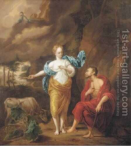Jupiter, Juno and Io by Arnold Houbraken - Reproduction Oil Painting