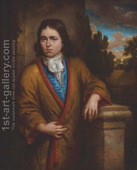 Portrait of a young man, three-quarter-length, in a yellow silk kimono with a red lining, wearing an earring, leaning on a stone plinth by Arnold Houbraken - Reproduction Oil Painting