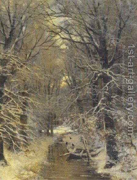 A stream in snow covered woods by Arnold Marc Gorter - Reproduction Oil Painting