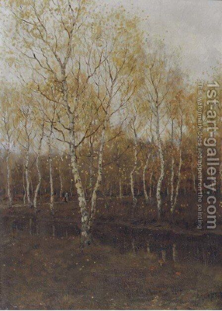 Birch trees in autumn by Arnold Marc Gorter - Reproduction Oil Painting