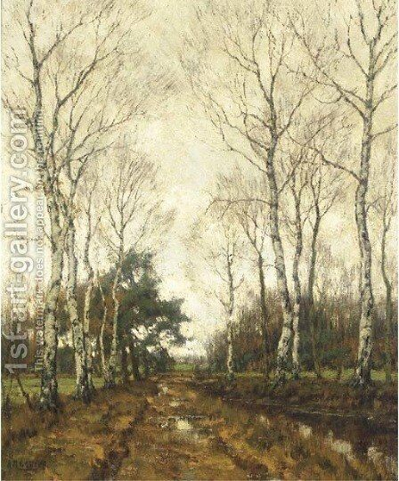 Birches in autumn by Arnold Marc Gorter - Reproduction Oil Painting