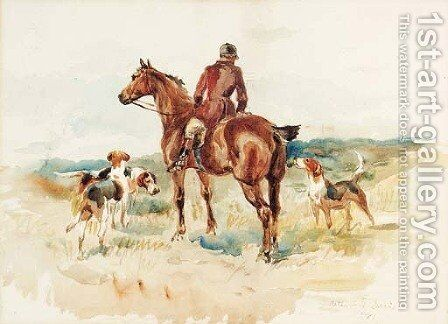 A Huntsman with his Hounds in an extensive Landscape by Arthur Davis - Reproduction Oil Painting
