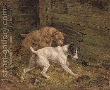 Terriers in the barn by Arthur Alfred Davis - Reproduction Oil Painting