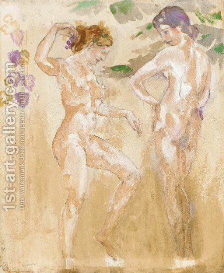 Two Nude Figures by Arthur Bowen Davies - Reproduction Oil Painting