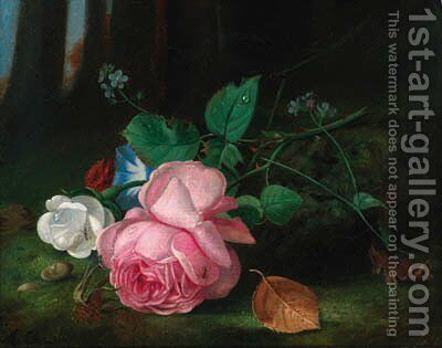 Roses with convolvuli and a sprig of forget-me-nots on a mossy bank by Arthur Chaplin - Reproduction Oil Painting