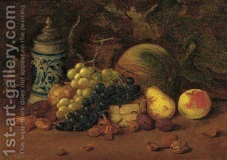 A tankard with grapes, plums, an apple, a melon and hazlenuts by Arthur Charles Dodd - Reproduction Oil Painting