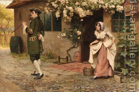 An encounter outside the cottage by A.C. (after) Cooke - Reproduction Oil Painting