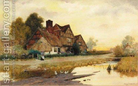 A Figure before a Cottage at Market Drayton, Shropshire by Arthur Claude Strachan - Reproduction Oil Painting